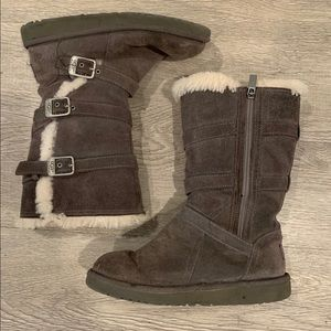 UGG Maddi Sn Brown Buckle Suade Boots Size 4